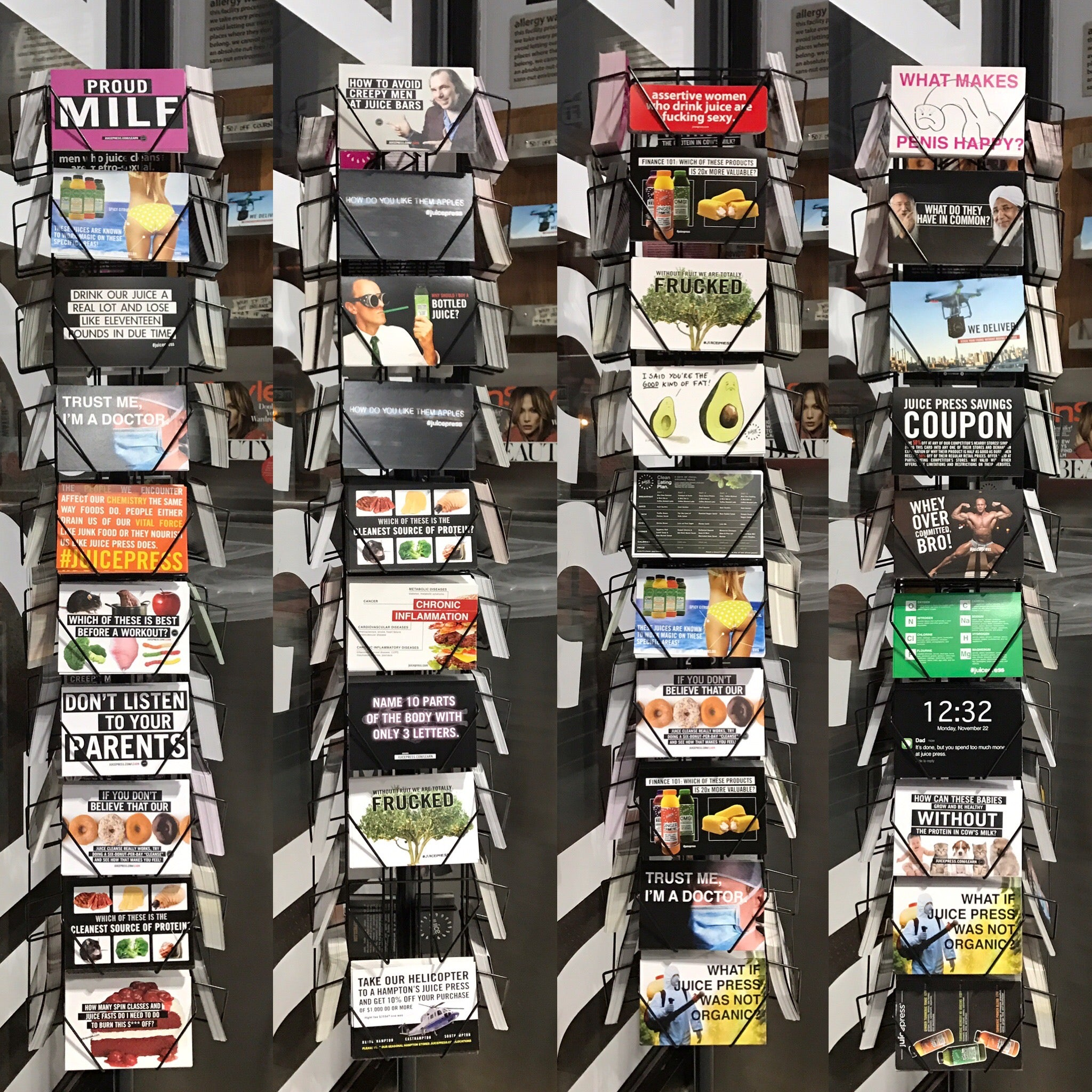 post card racks at Juice Press. the post cards were the best.