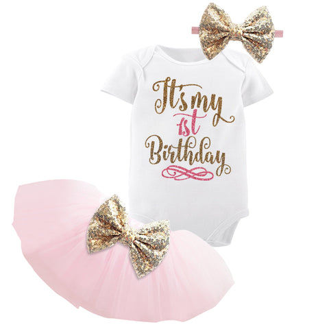 1 Year Baby Girl Birthday Dress Kids Baby Clothes Gold Bow 6 Months 1st 2nd Birthday - Saving World Store