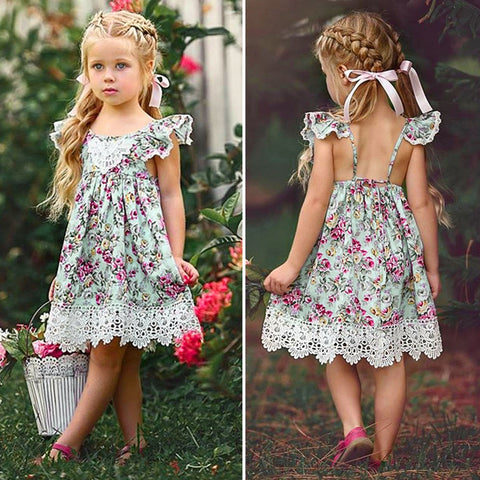 New Flower Lace Dress Princess Kids Baby Girls Sleeveless Dress Floral Tulle Party Wedding - Saving World Store