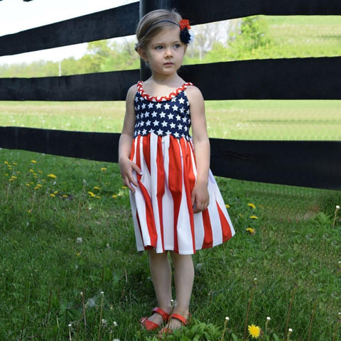 Baby Girls clothes Infant Kids 4th Of July Star Dress Clothes Sundress Casual Dresses Summer - Saving World Store