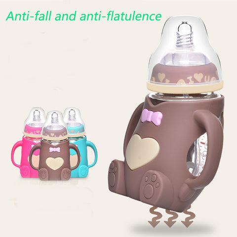 Maternal and child supplies, newborn baby, wide-caliber bottles, anti-fall, anti-flatulence, handle baby feeding glass bottles - Saving World Store