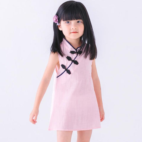Chinese Style Baby Girls Dress Solid Color Vintage Cheongsam Kids - Saving World Store