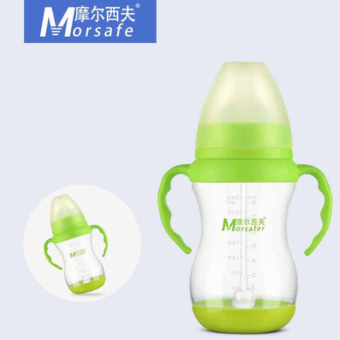 240ml/320ml Baby Feeding Bottle Newborn Width Mouth Silicone Cover Straw Drinking Milk Bottle Infant Nursing Product with Handle - Saving World Store