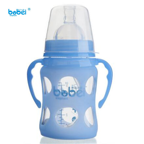 150ml newborn baby kids milk feeding glass bottle with silicon nipple pacifier anti-slip cover plastic Anti-hot handle and cover - Saving World Store