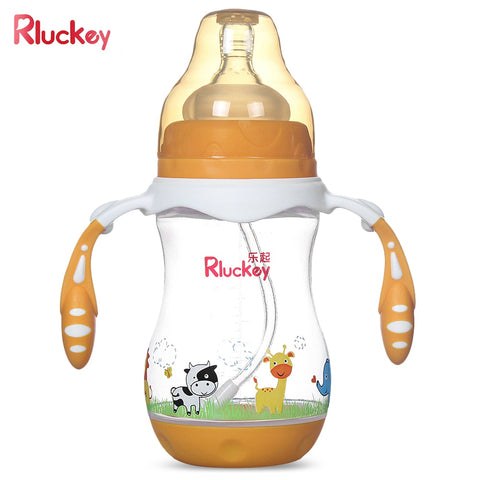 Rluckey 240ml Baby Bottle Wide Caliber PP Silicone Straw Handle Drinking Training Cup - Saving World Store