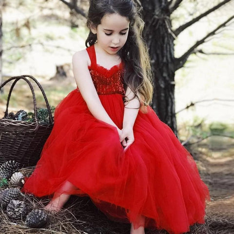 Baby kid girls clothes dress Princess party Toddler Baby Girls Gauze Solid Sequins Sundress Clothes - Saving World Store