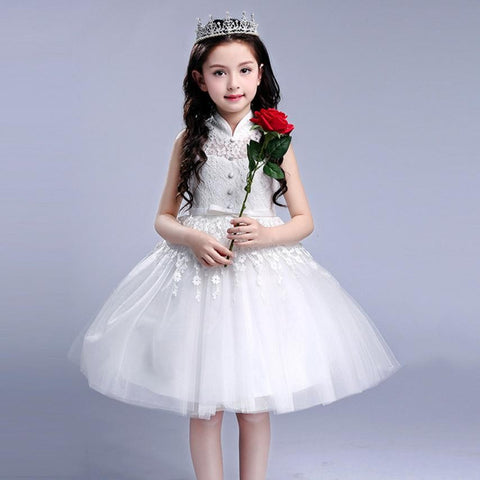Baby evening party Princess dress Children Kid Girl Bowknot Flower Print Princess Sleeveless - Saving World Store
