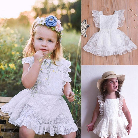 Baby girls Princess party summer dress Infant Baby Girls Romper Solid Lace Tutu Princess Dress - Saving World Store