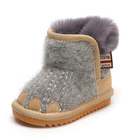 Fashion Winter Boots Kids Flat With Fur Thicken Girls Plush Warm Leather Soft Baby Shoes - Saving World Store