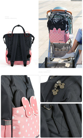 Mickey Minnie Diaper Bag Waterproof Stroller Nappy Bag USB Heating Bottle Warmer Mummy Baby Bags Travel Backpack - Saving World Store