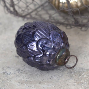 "3"" Large Dark Blue Glass Fir Cone"