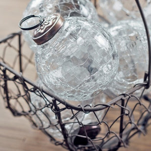"2"" Medium Clear Crackle Glass Christmas Bauble"