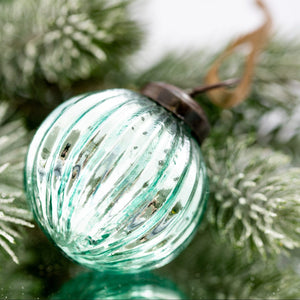 "2"" Medium Mint Ribbed Glass Christmas Bauble"