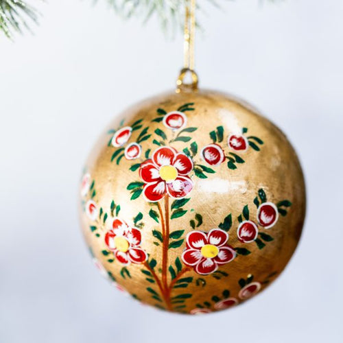 3'' Gold With Red Flower Christmas Bauble