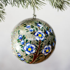 "3"" Silver Glitter With Blue Flower  Christmas Bauble"