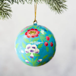 "3"" Turquoise Indian Floral Christmas Bauble"