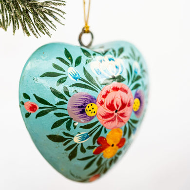 Turquoise Indian Floral Hanging Heart