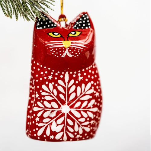 Red Snowflake Hanging Cat