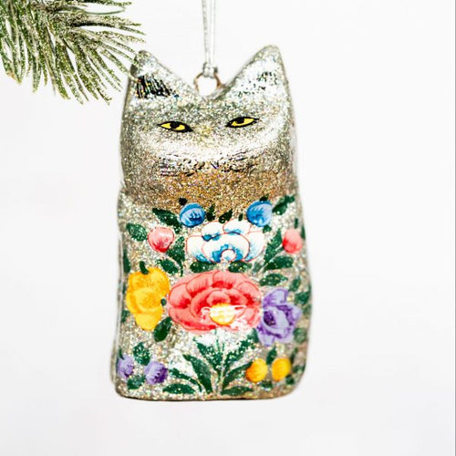 Silver Glitter Indian Floral Hanging Cat