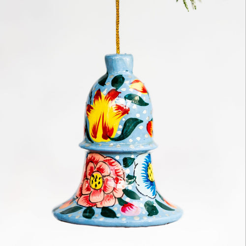 Blue Indian Floral Hanging Bell