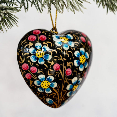 Black Indian Floral Hanging Heart