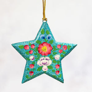 Turquoise Glitter Indian Floral Hanging Star