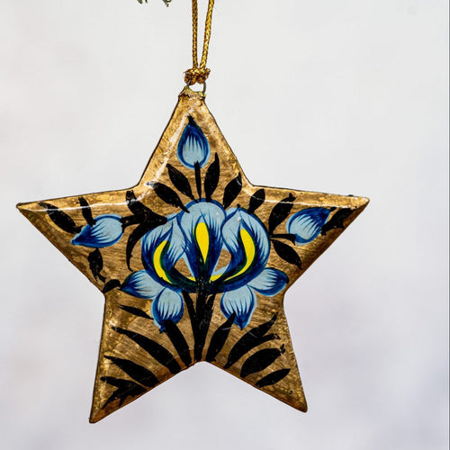 Gold Indian Floral Hanging Star
