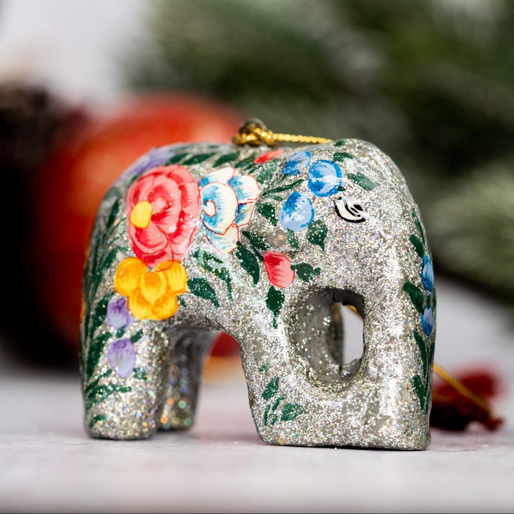 Indian Silver Glitter Floral Hanging Elephant