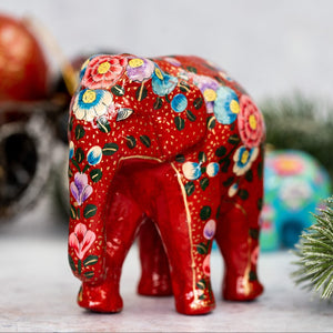 Indian Red Floral Giant Elephant