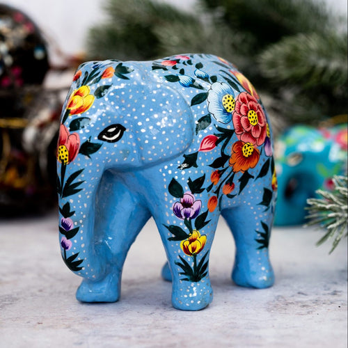 Indian Blue Floral Giant Elephant