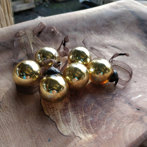 "Set of 6 Small Gold 1"" Plain Glass Balls"