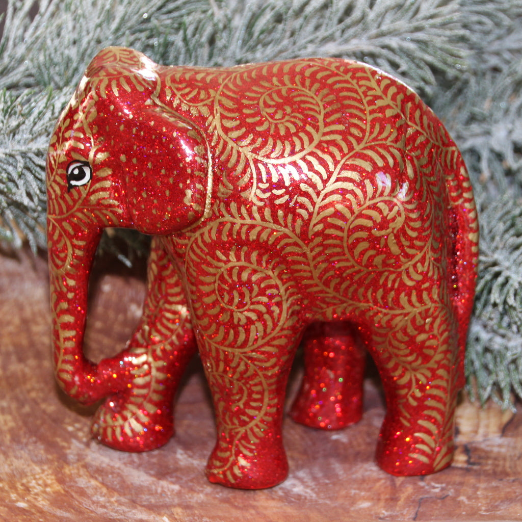 Red & Gold Glitter Swirl Giant Elephant