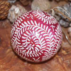 "3"" Pink Glitter Swirl Christmas Bauble"
