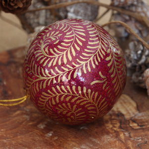 "3"" Purple Glitter Swirl Christmas Bauble"