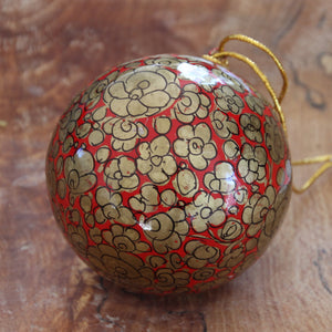 "2"" Red & Gold Floral Christmas Bauble"