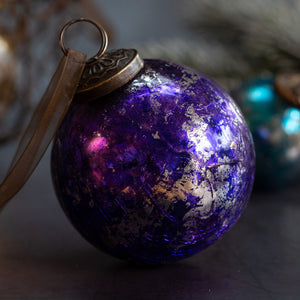 "3"" Large Purple & Silver Foil Crackle Glass Ball"