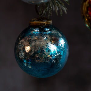 "2"" Medium Turquoise With Silver Foil Glass Ball"