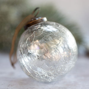 "3"" Large Clear With Silver Foil Glass Ball"