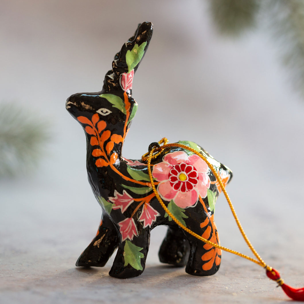 Indian Floral 18 Hanging Reindeer