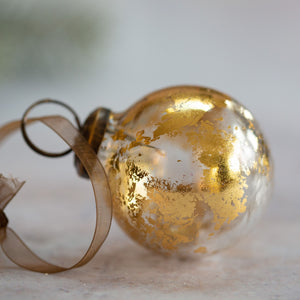 "2"" Medium Clear With Gold Foil Glass Ball"