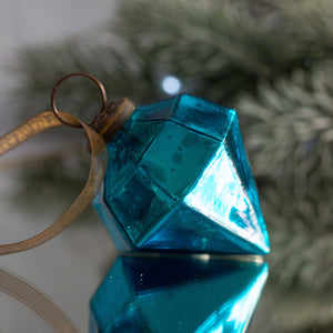 "2"" Medium Turquoise Glass Jewel Shape Christmas Bauble"