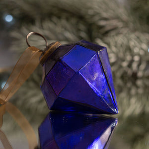 "2"" Medium Purple Glass Jewel Shape Christmas Bauble"