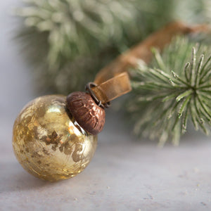"Set of 6 Small Gold 1"" Crackle Glass Balls"