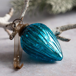 "2"" Medium Turquoise Ribbed Glass Pine Cone"