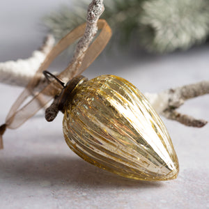 "2"" Medium Gold Ribbed Glass Pine Cone"