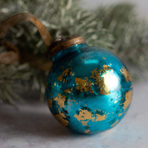 "2"" Medium Turquoise With Gold Foil Glass Ball"