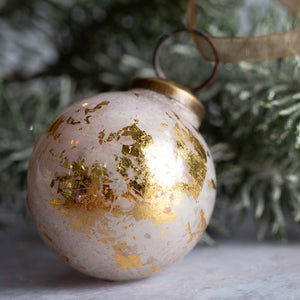 "2"" Medium White With Gold Foil Glass Ball"
