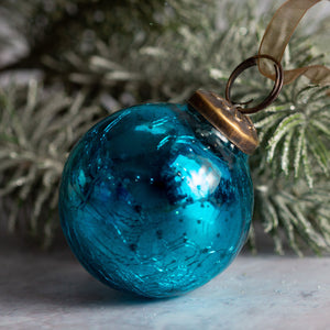 "2"" Medium Turquoise Crackle Glass Christmas Bauble"