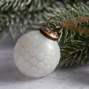 "2"" Medium White Cut Glass Golf Ball Design Christmas Bauble"