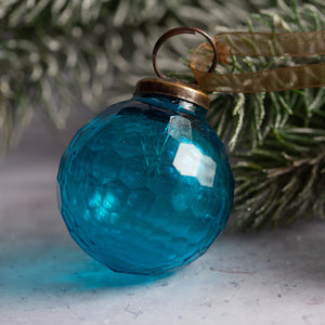 "2"" Medium Turquoise Cut Glass Golf Ball Design Christmas Bauble"